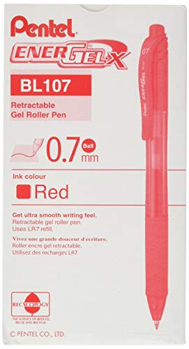 (Pentel EnerGel-X Retractable Liquid Gel Pen (0.7mm) Metal Tip, Red Ink, Box of 12 (BL107-B))
