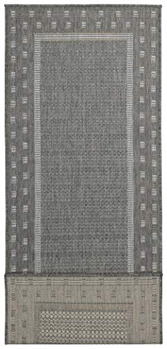"""Ottomanson Jardin Indoor/Outdoor Bordered Runner Rug, Gray, 2'X5', 20"""" x 59"""", Grey - VERSATILE: Robust construction makes it ideal for high-traffic areas indoor or outdoor. DURABLE and LONG LASTING: Power-loomed in Turkey with %100 polypropylene. LOW-PILE HEIGHT is non-shedding and ideal for homes with pets and high-traffic. - runner-rugs, entryway-furniture-decor, entryway-laundry-room - 419s7qaBoyL -"""