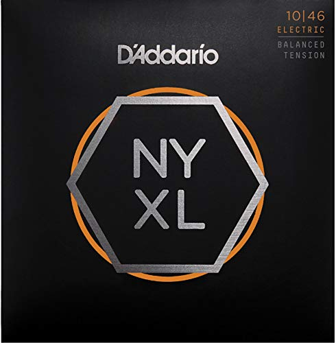 D'Addario NYXL1046BT Nickel Plated Electric Guitar Strings,Regular Light,Balanced Tension,10-46 - High Carbon Steel Alloy for Unprecedented Strength - Ideal Combination of Playability and Electric Tone (Renewed)