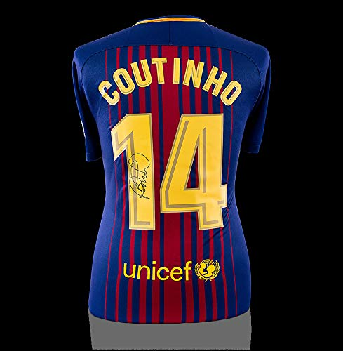 508c33fb8 Philippe Coutinho Autographed Signed Fc Barcelona 2017-18 Home Shirt With  Fan Style Numbers at
