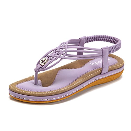 Socofy Bohemian Sandals,Women's Knitting Flats Handmade Clip Toe Elastic Beach Wear Summer Casual Shoes Purple 8 B(M) US -