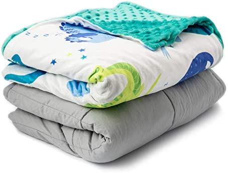 FORTIVO Weighted Blanket for Kids 5lbs Teal Quilt 36x48 Throw Weighted Blanket for Adults Heavy Blanket Best for Children 40-70 Pounds Warming /& Cooling Weighted Blanket with Minky Cover