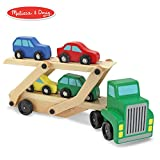 Melissa & Doug Car Carrier Truck & Cars Wooden Toy Set (Compatible with Wooden Train Tracks, Quality Wood Construction, 13.8' H x 6.7' W x 3.35' L)