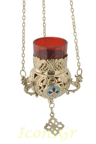 Orthodox Greek Christian Bronze Hanging Votive Vigil Oil Lamp with Chain and Red Glass - 9685b