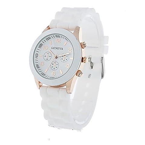 Unisex Geneva Silicone Jelly Gel Quartz Analog Sports Wrist Watch (White) (Sport Watches Womens White)