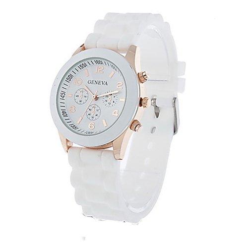 Unisex Geneva Silicone Jelly Gel Quartz Analog Sports Wrist Watch White