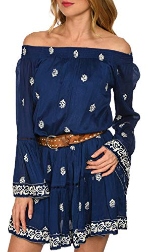Robe Miss Brodée june Bleu Marine Femme 68RqTnw84