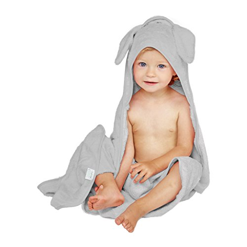 Luxury Hooded Baby Towel and Washcloth Set | Gray Elephant Design | Extra Soft Bamboo Baby Towel | One Size for Infant, Toddler, Newborn | Perfect Gift for Boys and Girls ()