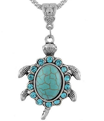 Cameo Turquoise Pendant - Turquoise Blue Tortoise Pendant Drill Snap Fit Necklace 18mm Noosa Charm Button