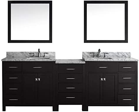 Virtu USA Caroline Parkway 93 inch Double Sink Bathroom Vanity Set in Espresso w Square Undermount Sink, Italian Carrara White Marble Countertop, No Faucet, 2 Mirrors – MD-2193-WMSQ-ES
