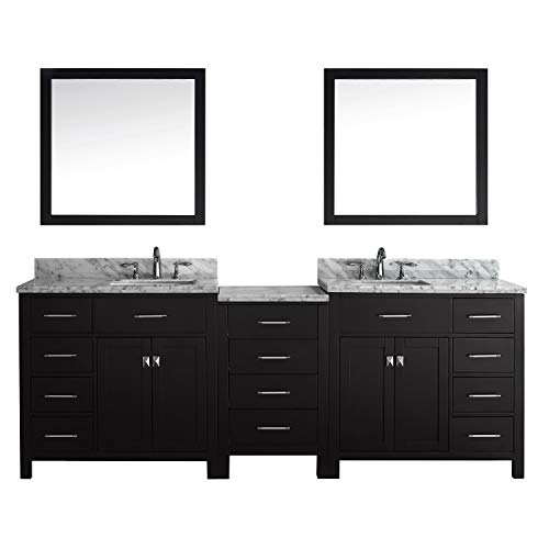 Virtu USA Caroline Parkway 93 inch Double Sink Bathroom Vanity Set in Espresso w/Square Undermount Sink, Italian Carrara White Marble Countertop, No Faucet, 2 Mirrors - MD-2193-WMSQ-ES ()