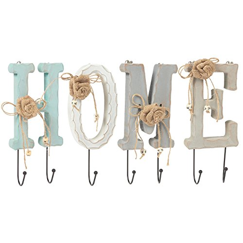 Juvale Home Letter Wooden Wall Hook Rail Set with 6 Pegs – Charming Indoor Iron Hooks for Household Items, Clothing, Keys