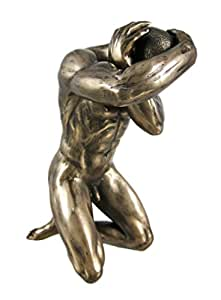Bronzed Finish Kneeling Nude Male Statue Erotic Art
