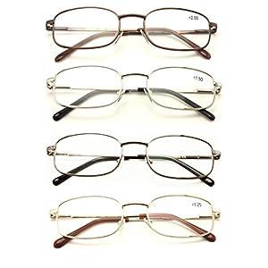 Vision World Rectangular Lightweight Slim Metal Reading Glasses - Unisex Readers (4 pairs (gold/silver/bronze/gunmetal), 2.75)
