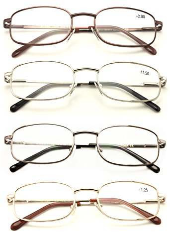 Vision World Rectangular Lightweight Slim Metal Reading Glasses - Unisex Readers (4 pairs (gold/silver/bronze/gunmetal), 2.00)