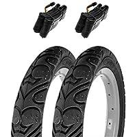 2x Huffy Negro Neumáticos de cochecito COMPLETA CON