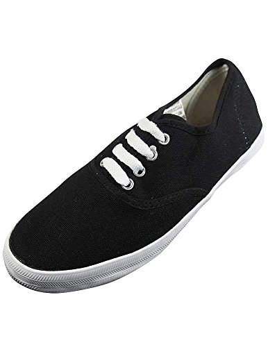 Shoes Canvas Womens Easy Plimsol Lace Sneakers Blackandwhite up USA P1Uwqxv6