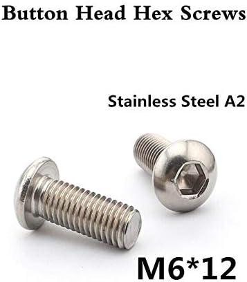 MMingx 100pcs /ロットISO7380 M6 * 12ボタンヘッド六角穴付ボルトA2ステンレス鋼六角ボタンヘッドネジ