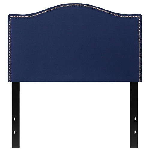 (Flash Furniture Lexington Upholstered Twin Size Headboard with Decorative Nail Trim in Navy Fabric - HG-HB1707-T-N-GG)