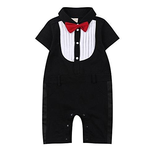Baby Boys Gentleman Jumpsuit (White Black) - 6