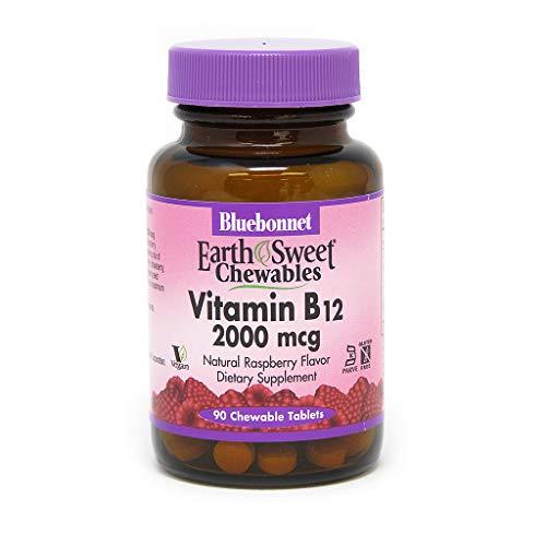 Chewable B-12 Vitamins - Bluebonnet Earth Sweet Vitamin B-12 2000 mcg Chewable Tablets, Raspberry, 90 Count