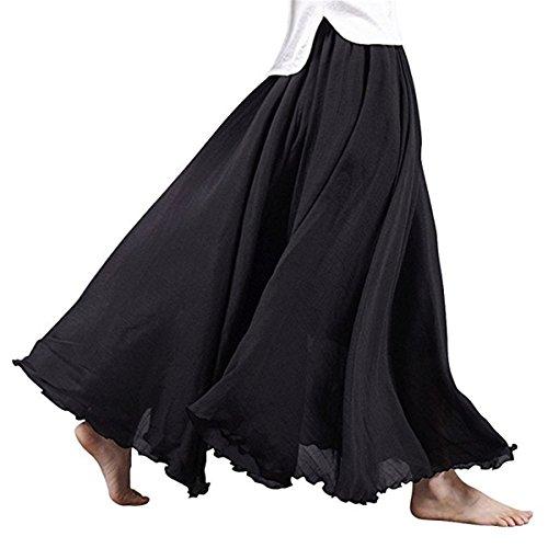 Ruiying 20 Couleurs Maxi Jupes Femme Coton Lin Double Couche Jupe Longues Jupes Dames Taille Haute Jupe Doux Confortable 95 cm Noir