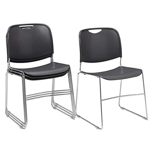 ((4 Pack) National Public Seating 8500 Series Ultra-Compact Plastic Stack Chair,)