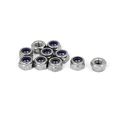 uxcell M6 x 1mm 304 Stainless Steel Nylock Nylon Insert Hex Lock Nut 10PCS