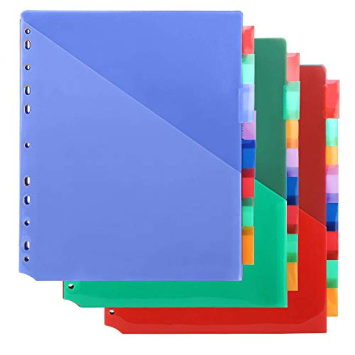MAKHISTORY Plastic 8-Tab Binder Dividers with Two Pockets - 3 Sets, Insertable Tab Dividers for 3-Ring Binder, Multi-Color, Total 24 Tabs