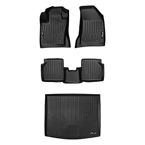 SMARTLINER Floor Mats 2 Rows and Cargo Liner Set Black for 2017-2018 Jeep Compass with 1st Row Dual Driver Side Floor Hooks (New Body Style Only)