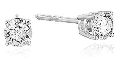 AGS Certified SI2-I1 14K Diamond Stud Earrings White Gold (0.25-0.75 cttw) by Vir Jewels