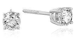 Certified White Gold Diamond Stud Earrings