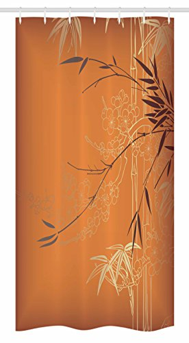Ambesonne Bamboo Stall Shower Curtain By, Bamboo Branches And Flowers  Illustration In Vivid Color Eastern