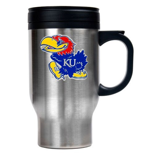 Ncaa Stainless Shot Glass (NCAA Kansas Jayhawks 16oz Stainless Steel Travel Mug)