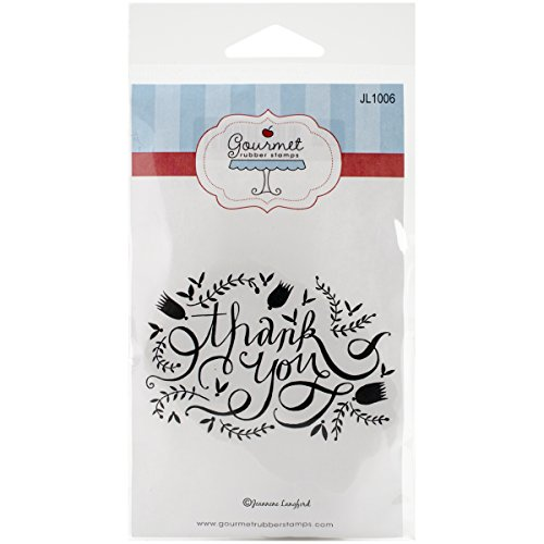 Gourmet Rubber Stamps Cling Thank You Flourish Stamps, 3.25 x 6.5