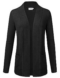 JJ Perfection Women's Open Front Draped Knit Long Sleeve Sweater Cardigan