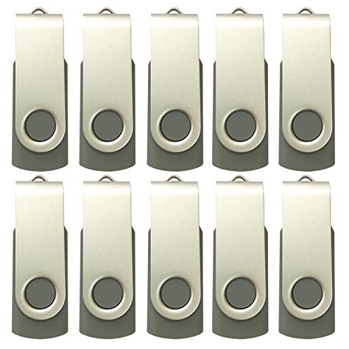 Enfain 2GB USB Thumb Drives in Gray Color Pack of 10 - for Infomation Storage and ()