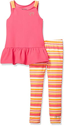 Juicy Couture Girls' Little 2 Pieces Legging Set, hot Orange/Pink Stripes, 6 -