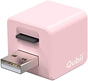 Qubii - Photo Storage Device for iPhone & iPad, Auto Backup Photos & Videos, Photo Stick for iPhone, Digital Photos Organizer【microSD Card Not Included】- Pink