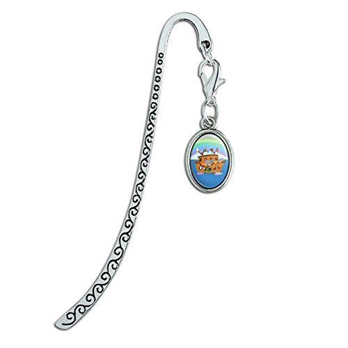 Noah's Ark with Animals Metal Bookmark Page Marker with Oval Charm Noahs Ark Bookmark