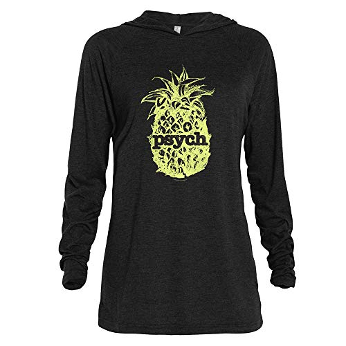 - Psych Vintage Yellow Pineapple Tri-Blend Raglan Hoodie - Black Heather - Small