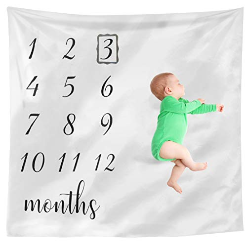 Baby Monthly Milestone Blanket Boy and Girl Photo - Organic Blankets for Growth Milestones Pictures Month Cards - Newborn to 12 Months - Baby Shower Gift + Bonus Wreath