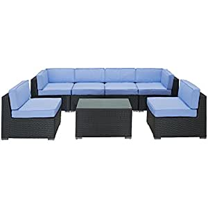 Poise Outdoor 7 Piece Wicker Sectional Espresso Light Blue FMP251970