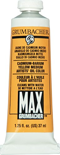 Grumbacher Max Water Miscible Oil Paint, 37ml/1.25 oz, Cadmium-Barium Yellow Medium