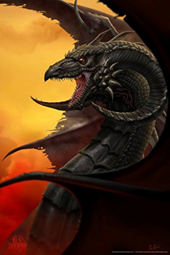 Scourge Dragon Tom Wood Fantasy Art Poster 24x36 inch