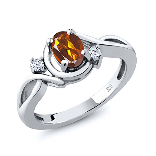 Madeira Citrine Ring (Orange Madeira Citrine and White Topaz 925 Sterling Silver Women's Ring (0.78 cttw, Available in size 5, 6, 7, 8, 9))