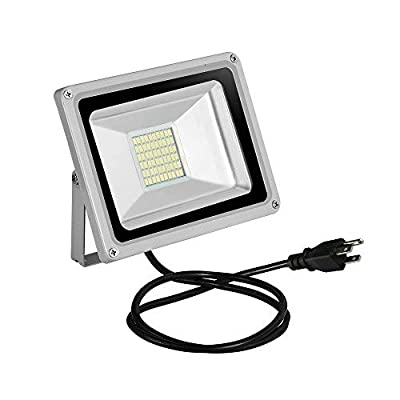 30W LED Flood Light, CE and ROHS Certified Outdoor Security Light SMD 2835 Super Bright Cool White Floodlight with US 3-Plug for Yard, Garage, Garden, Lawn, Basketball Court, Playground - Cold White