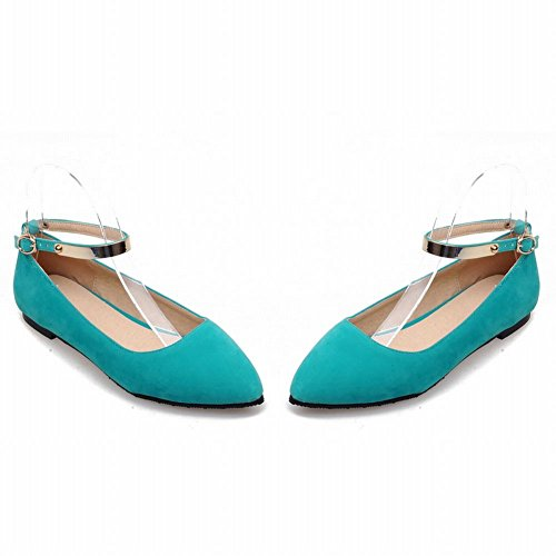Womens Pointed Green Strap Toe Flats Show Blue Buckle Ankle Fashion Shine Shoes 6A1PxAwYq5