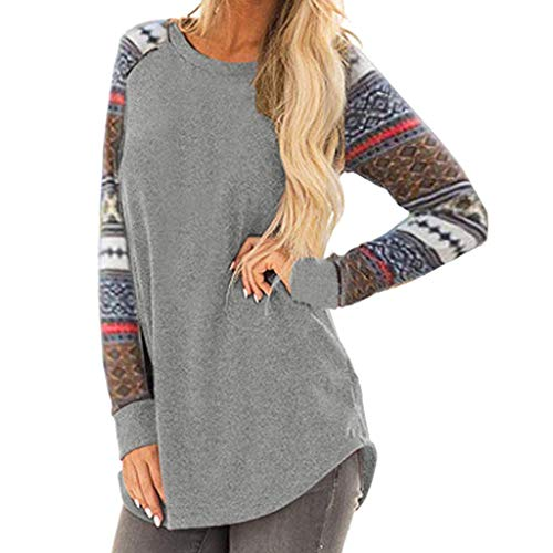 Blouses for Women,Padaleks Women's Stripe Sleeve Patchwork Casual Top T-Shirt Loose Top Pullover Bottoming ()