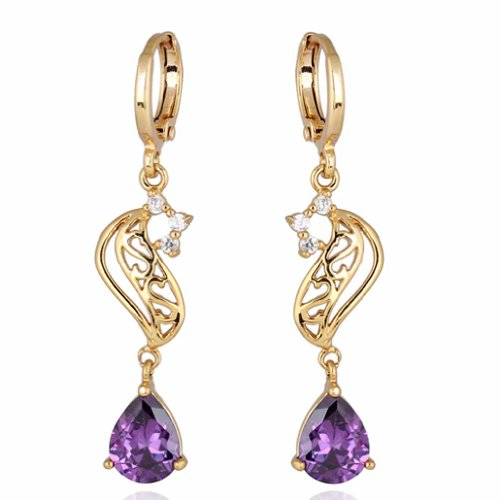 YAZILIND Elegant Hollow Design 18k Gold Filled Inlay Teardrop Purple Cubic Zirconia Dangle Drop (Purple Teardrop Ring)